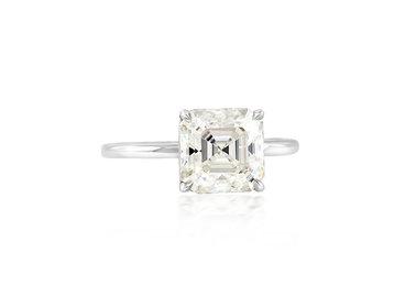Trabert Goldsmiths 2.75ct Asscher Cut Moissanite Aura Ring E1869