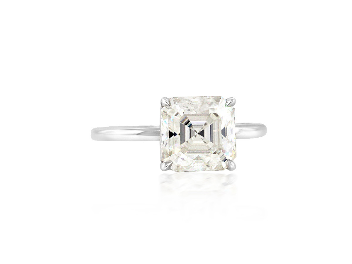 Trabert Goldsmiths 2.75ct Asscher Cut Moissanite Aura Ring