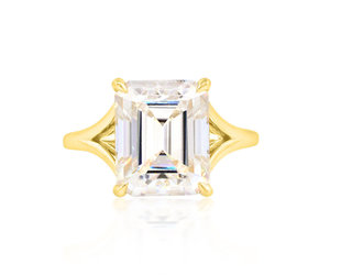 Trabert Goldsmiths 7ct Emerald Cut Moissanite Split Aura Ring E1880
