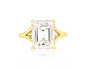Trabert Goldsmiths 7ct Emerald Cut Moissanite Split Aura Ring E1880