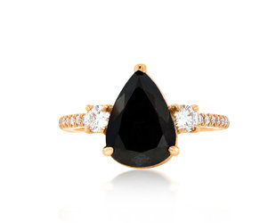 Trabert Goldsmiths 2.78ct Pear Black Diamond Dark Star Ring E1881