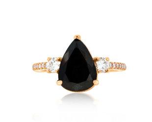 Trabert Goldsmiths 2.78ct Pear Black Diamond Dark Star Ring E1881