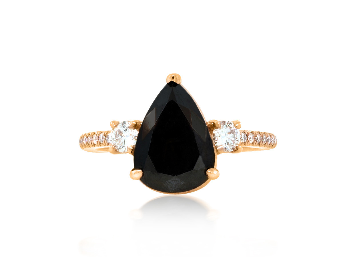 Trabert Goldsmiths 2.78ct Pear Black Diamond Dark Star Ring