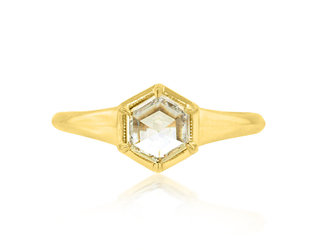 Trabert Goldsmiths 0.59ct Hexagonal Diamond Gold Astrid Ring E1884