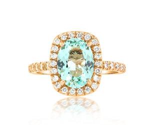 Trabert Goldsmiths 1.48ct Paraiba Aqua Green Goddess Ring E1888