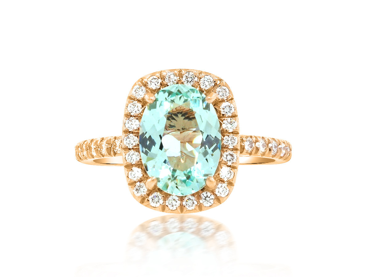 Trabert Goldsmiths 1.48ct Paraiba Aqua Green Goddess Ring