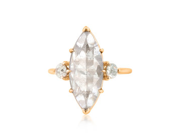 Trabert Goldsmiths 2.94ct Marquise Grey Diamond Rose Gold Ring E1894
