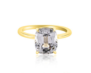 Trabert Goldsmiths 3.68ct Grey Cushion Cut Spinel Aura Ring E1895