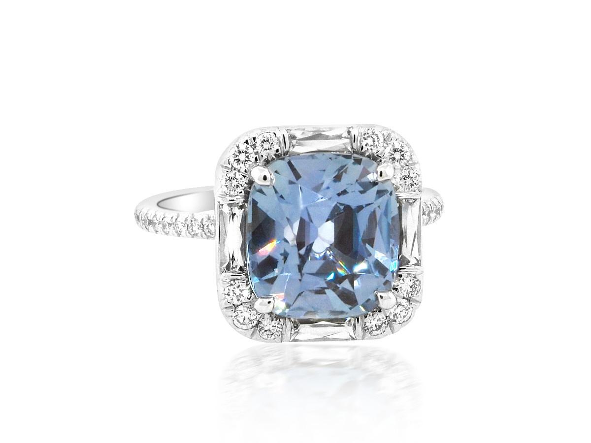 Trabert Goldsmiths 5.72ct Cushion Cut Sapphire Goddess Ring