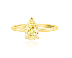 Trabert Goldsmiths 1.21ct  Yellow Pear Diamond Aura Ring E1902