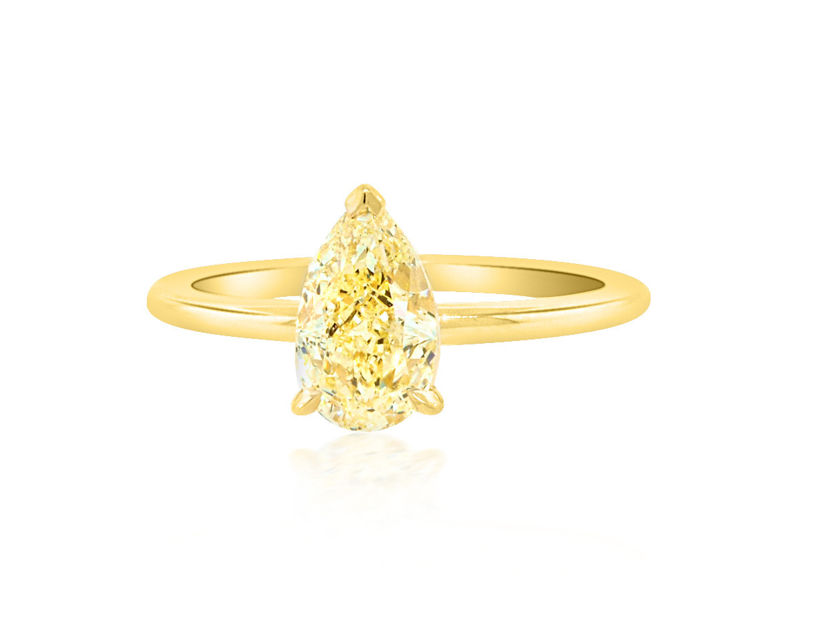 Trabert Goldsmiths 1.21ct Fancy Yellow Pear Diamond Aura Ring