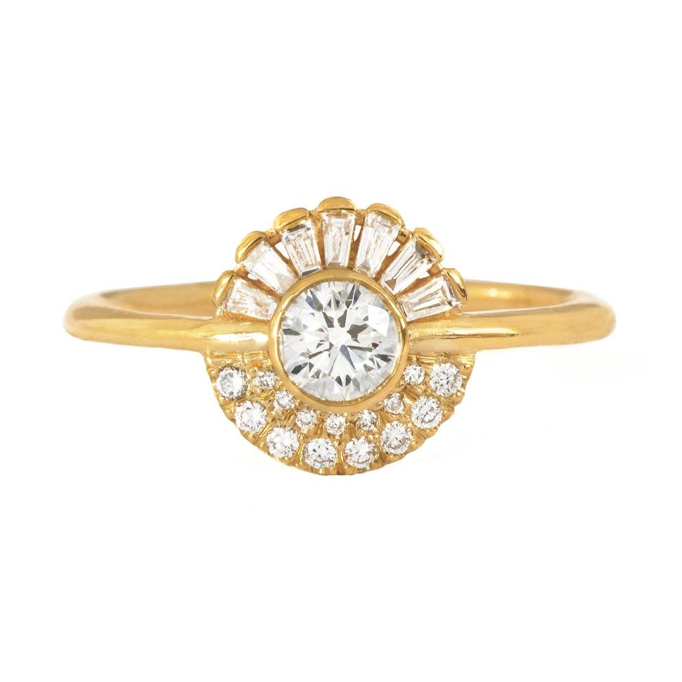 Artëmer Round & Baguette Diamond Spray Cluster Ring
