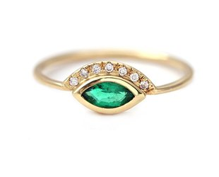 Artëmer Marquise Emerald Ring With Pave 'Crown' AT14
