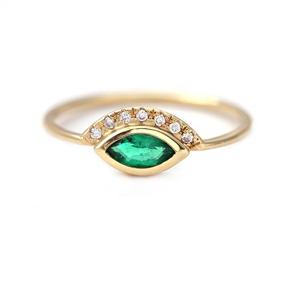 Artëmer Marquise Emerald Ring With Pave 'Crown'