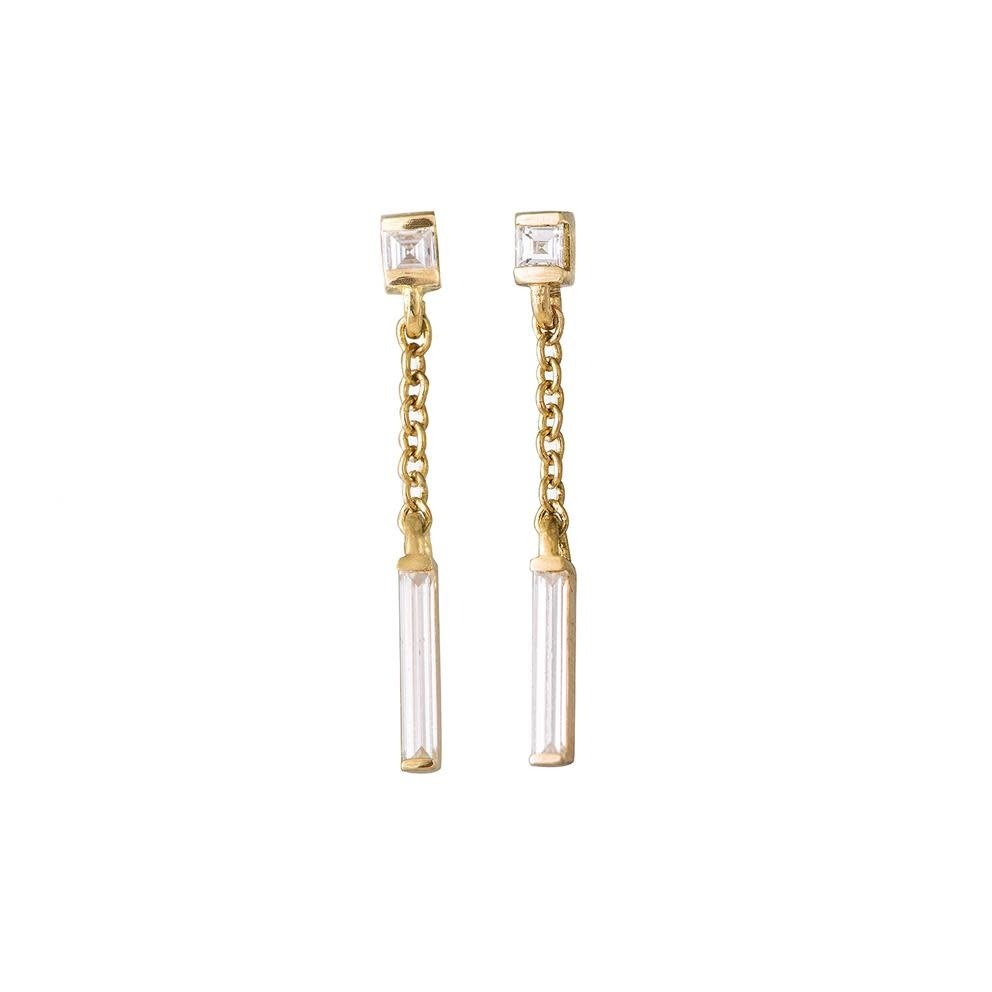 Artëmer Baguette Diamond Drop Earrings