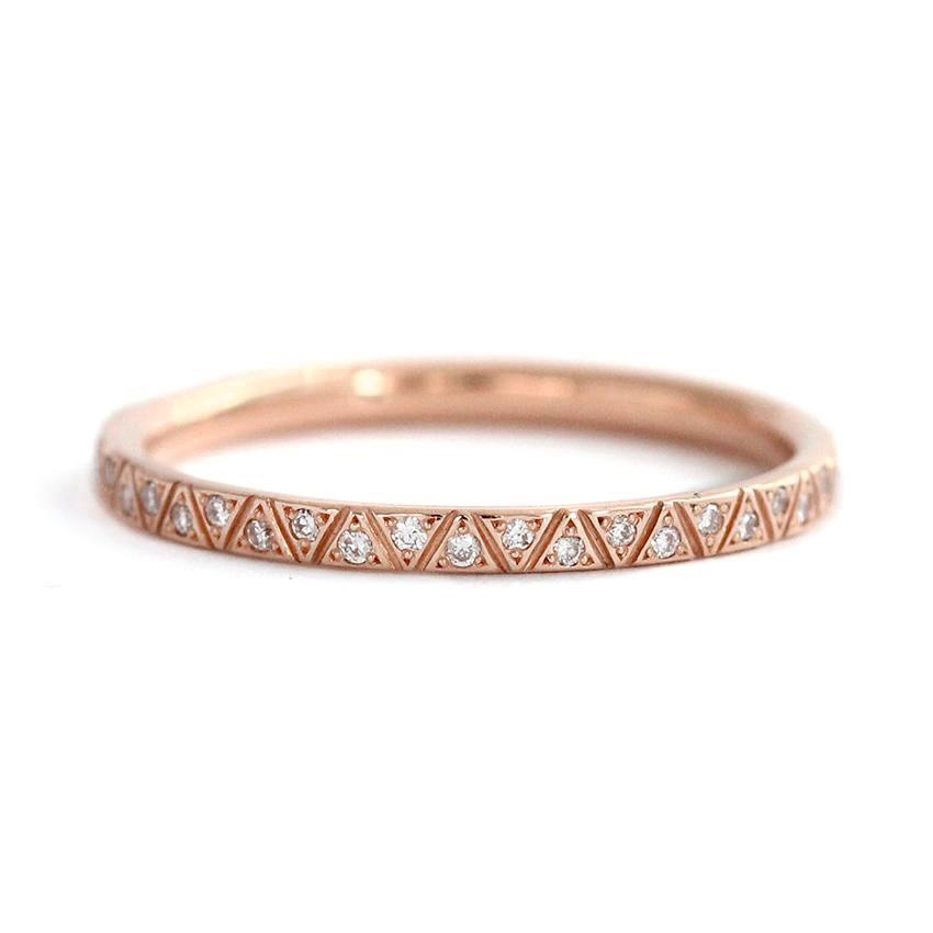 Artëmer Pyramid Diamond Eternity Rose Gold Band