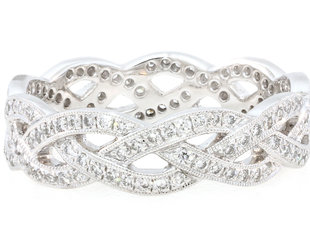 Beverley K Collection Wide Braided Diamond Eternity Band AB392