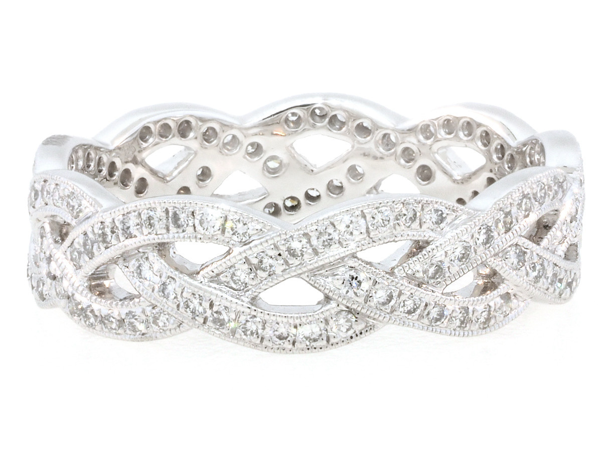Beverley K Collection Wide Braided Diamond Eternity Band