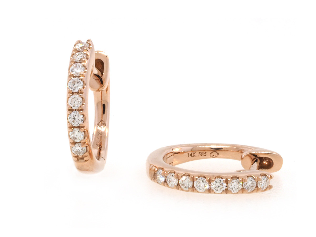 Luvente Small Pave Diamond Rose Gold Hoops