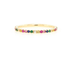 Trabert Goldsmiths Rainbow Sapphire Pave Eternity Ring E1997