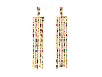 Trabert Goldsmiths Rainbow Sapphire Baguette Drop Earrings E1928