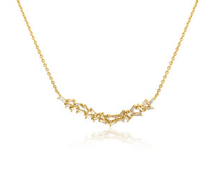 Trabert Goldsmiths Baguette Diamond Bib Gold Necklace E1929