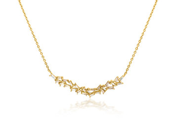 Trabert Goldsmiths Baguette Diamond Bib Gold Necklace E1929
