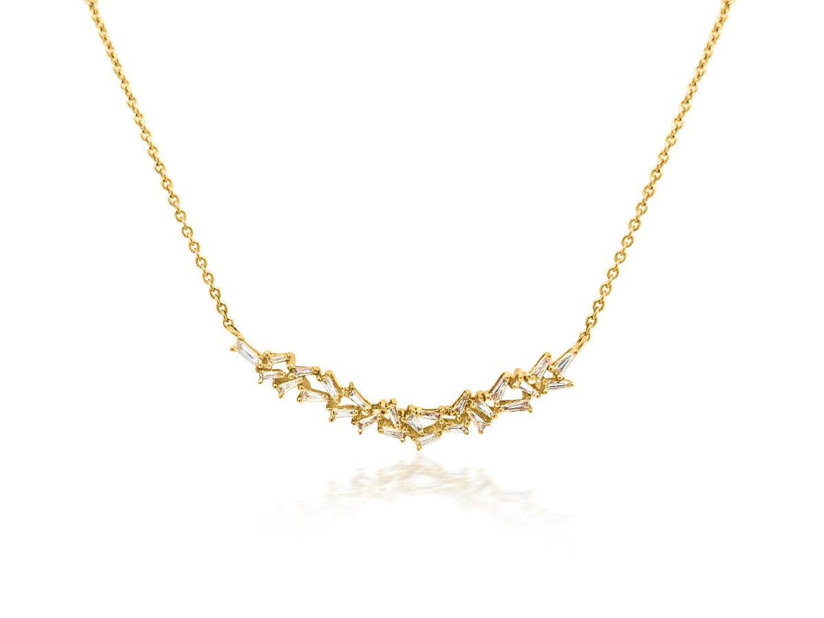 Trabert Goldsmiths Baguette Diamond Bib Gold Necklace
