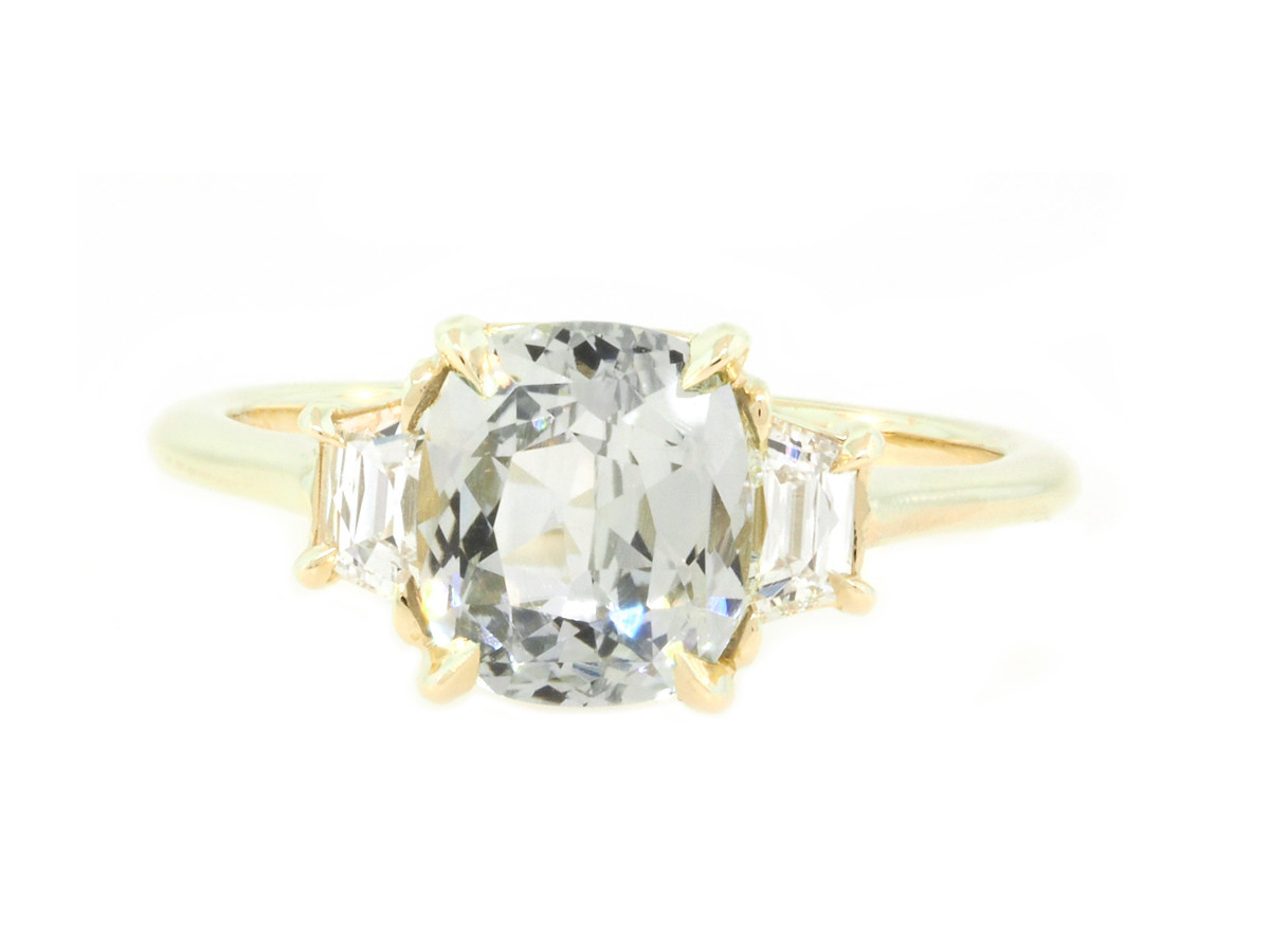 Trabert Goldsmiths 2.16ct Pale Blue Sapphire Twilight Ring