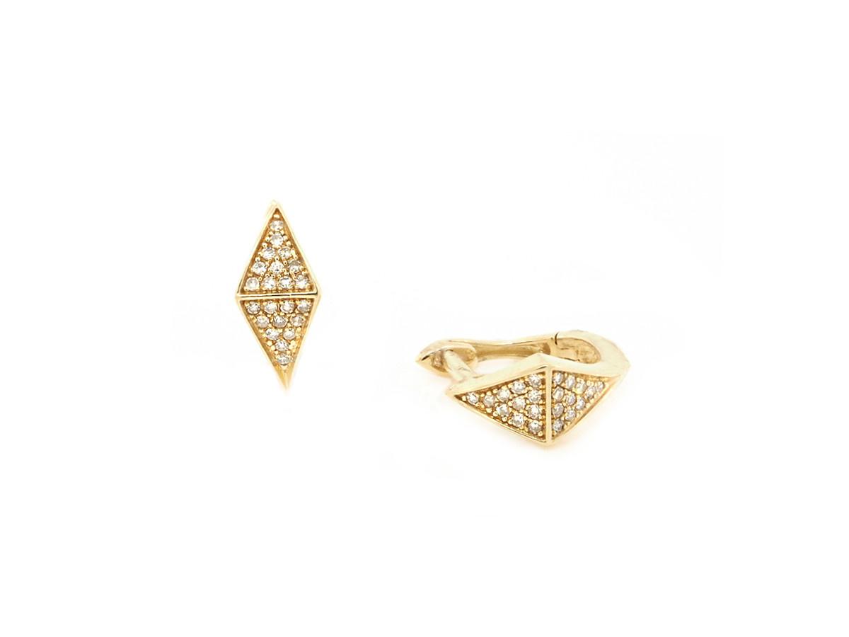 Trabert Goldsmiths Geometric Diamond Huggie Earrings