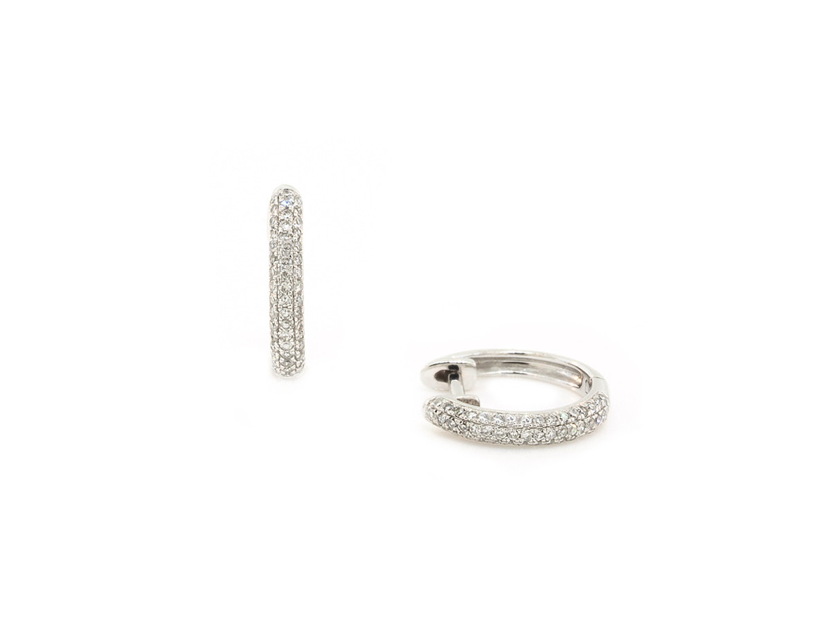 Trabert Goldsmiths White Gold Pave Diamond Huggie Earrings