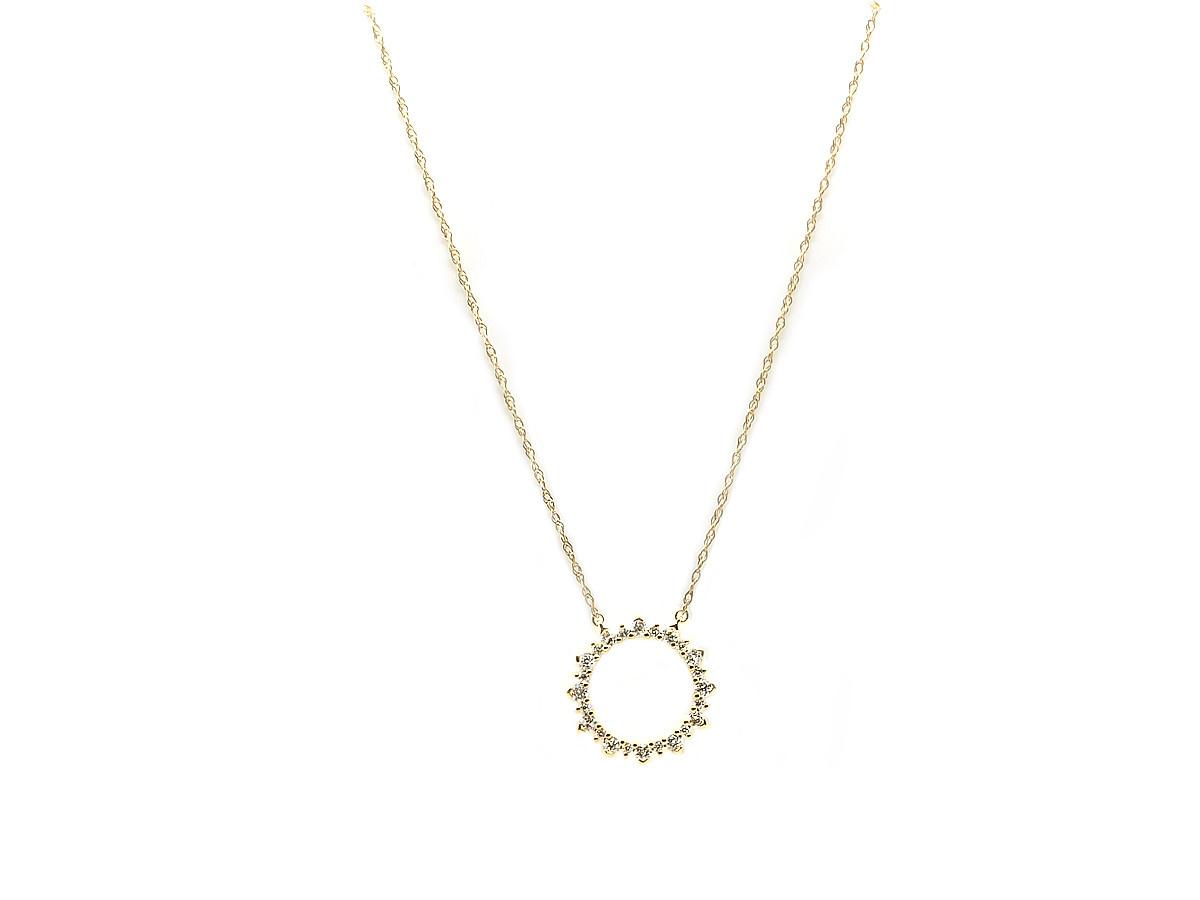 Trabert Goldsmiths Circle Diamond Gold Pendant