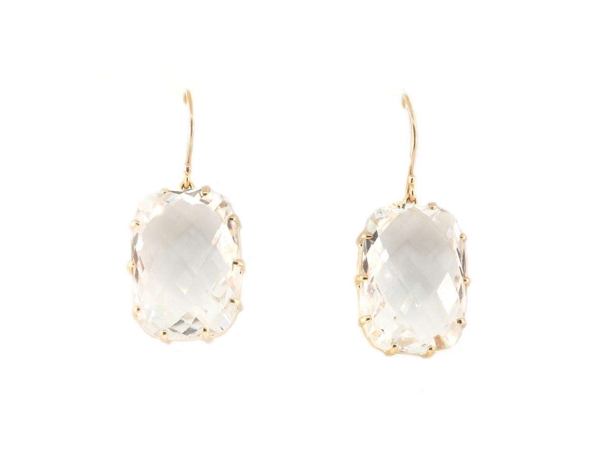 Jamie Joseph Jewelry Designs Rose Cut White Topaz Drop Earrings