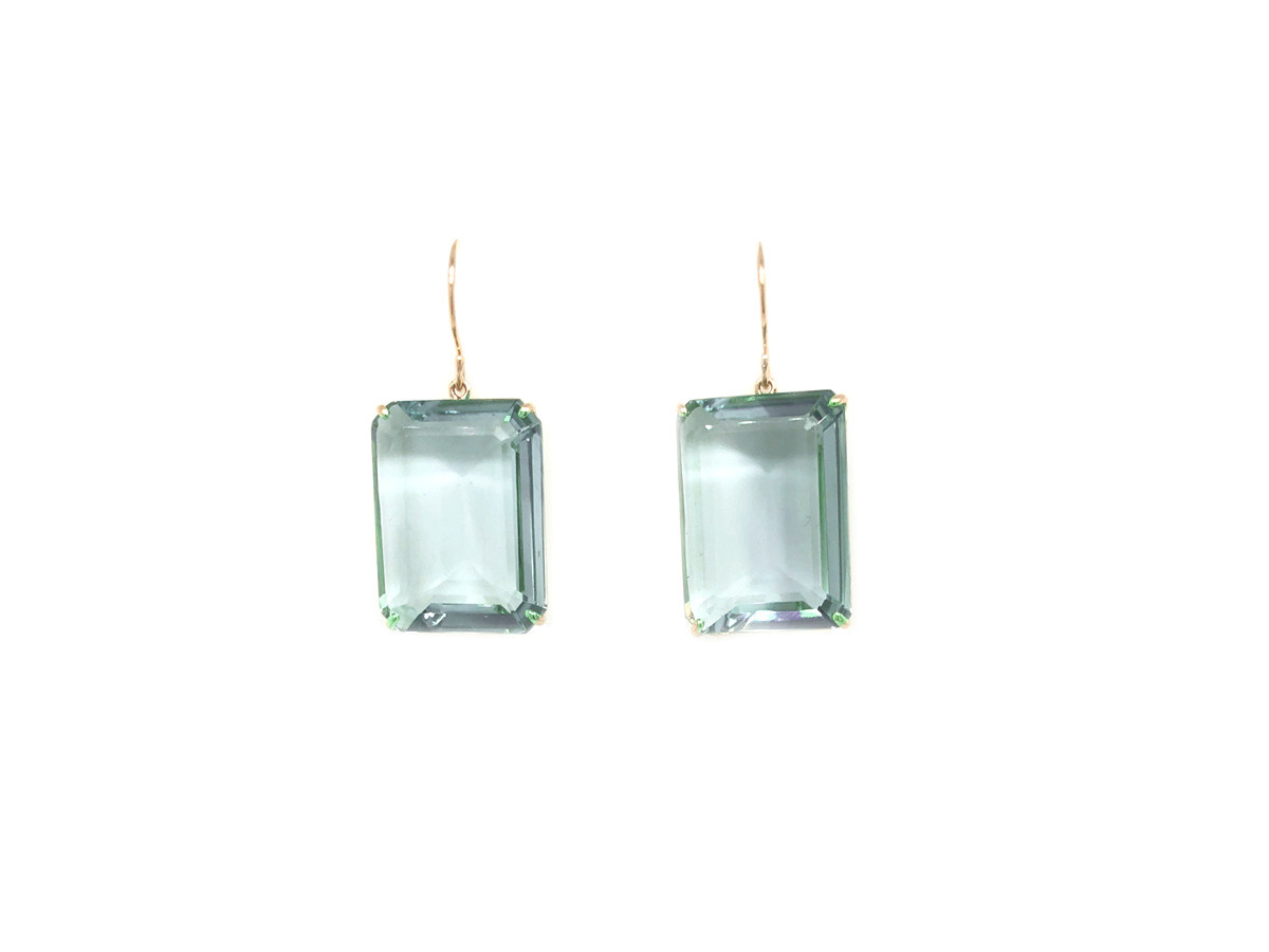 Jamie Joseph Jewelry Designs Emerald Cut Blue Topaz Drop Earrings