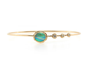 Jamie Joseph Jewelry Designs Australian Opal Gold and Dia Bracelet JD158