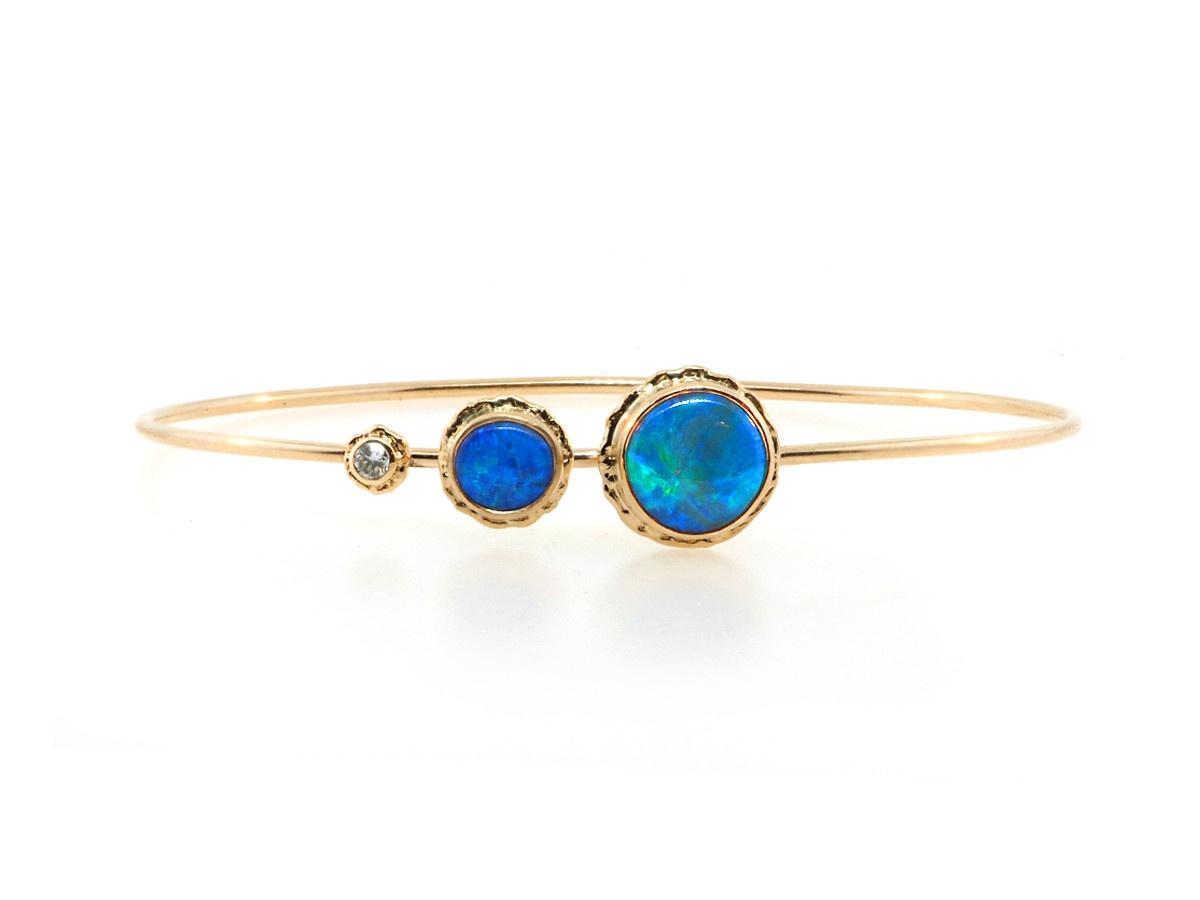 Jamie Joseph Jewelry Designs Double Australian Opal Gold Bracelet