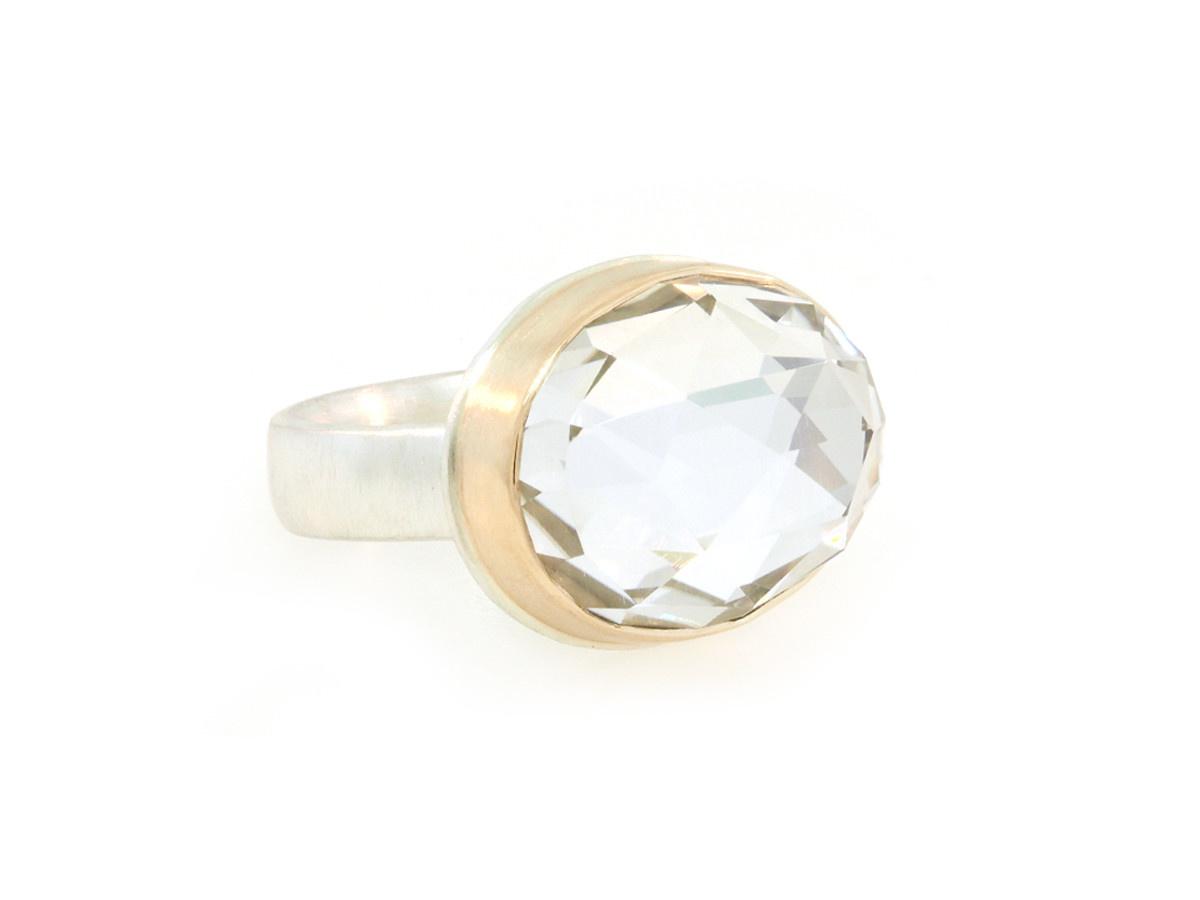 Jamie Joseph Jewelry Designs Rose Cut White Quartz Bezel Ring