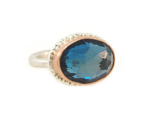 Jamie Joseph Jewelry Designs London Blue Topaz Bezel Ring JD154