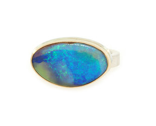 Jamie Joseph Jewelry Designs Asymmetrical Australian Opal Bezel Ring JD151