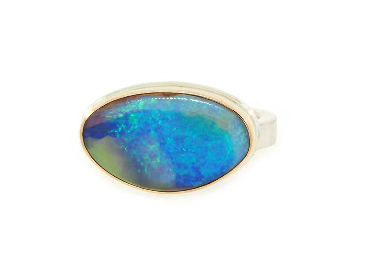 Jamie Joseph Jewelry Designs Asymmetrical Australian Opal Bezel Ring