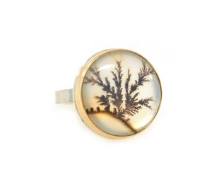 Jamie Joseph Jewelry Designs Round Dendritic Agate Ring JD148