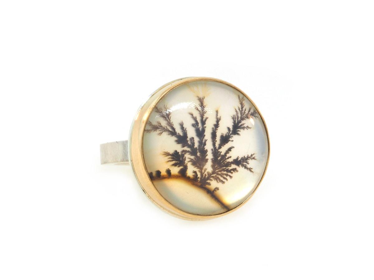 Jamie Joseph Jewelry Designs Round Dendritic Agate Ring JD148
