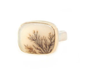 Jamie Joseph Jewelry Designs Rectangular Dendritic Agate Bezel Ring JD147