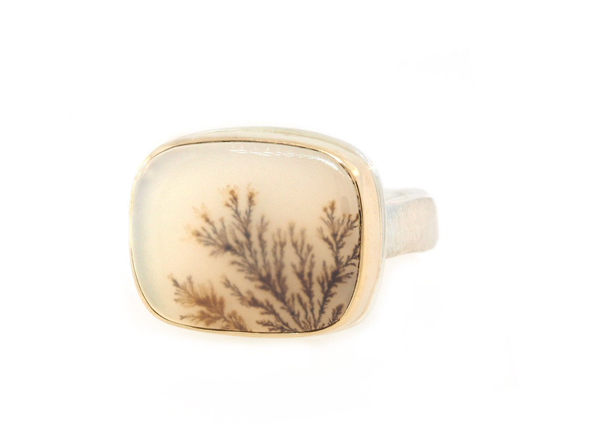 Jamie Joseph Jewelry Designs Rectangular Dendritic Agate Bezel Ring