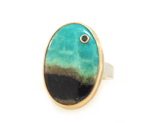 Jamie Joseph Jewelry Designs Blue Fossilized Wood Bezel Ring JD146