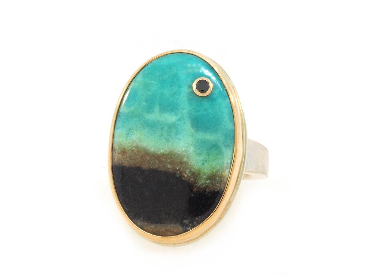 Jamie Joseph Jewelry Designs Blue Fossilized Wood Bezel Ring