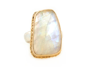 Jamie Joseph Jewelry Designs Rainbow Moonstone Bezel Ring JD142