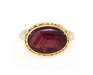 Jamie Joseph Jewelry Designs Oval Star Ruby Bezel Ring JD140