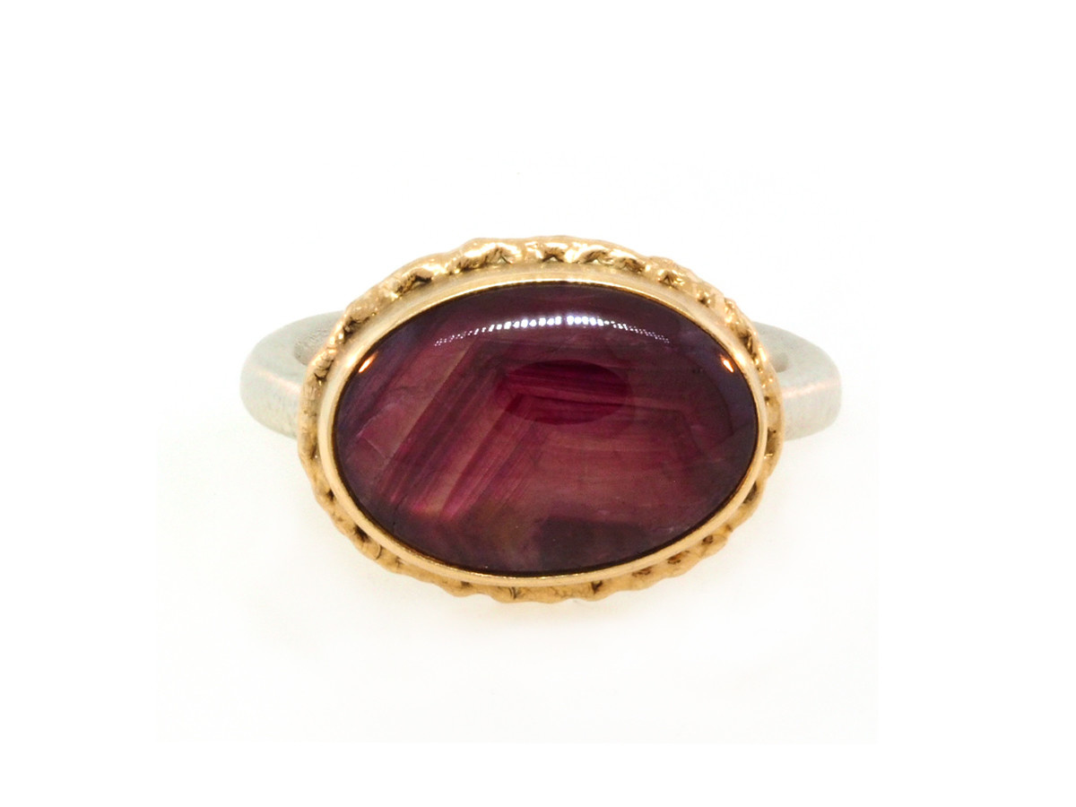 Jamie Joseph Jewelry Designs Oval Star Ruby Bezel Ring