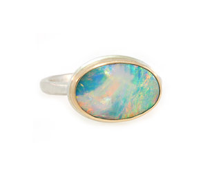 Jamie Joseph Jewelry Designs Oval Australian Opal Bezel Ring JD153